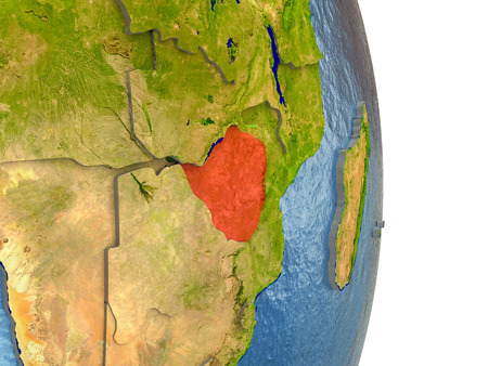 Zimbabwe in red with surrounding region. 3D illustration with highly detailed realistic planet surface.