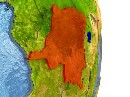 Democratic Republic of Congo in red with surrounding region. 3D illustration with highly detailed realistic planet surface.