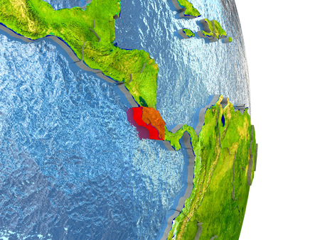 Costa Rica in red with surrounding region. 3D illustration with highly detailed realistic planet surface. Banco de Imagens
