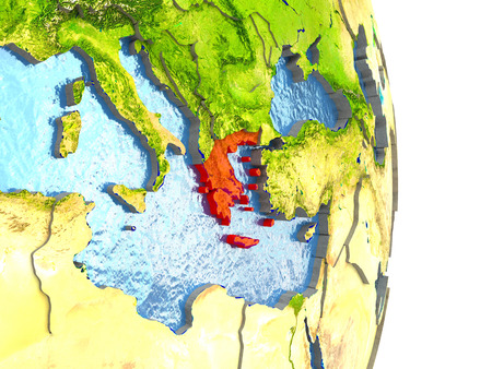 Greece in red with surrounding region. 3D illustration with highly detailed realistic planet surface.