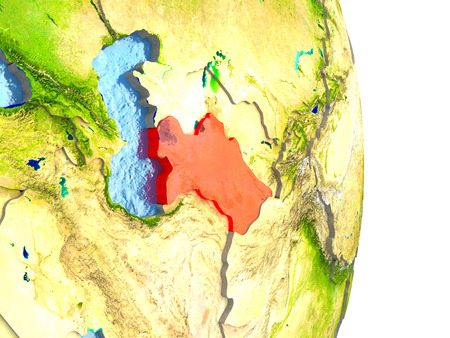 turkmenistan: Turkmenistan in red with surrounding region. 3D illustration with highly detailed realistic planet surface.