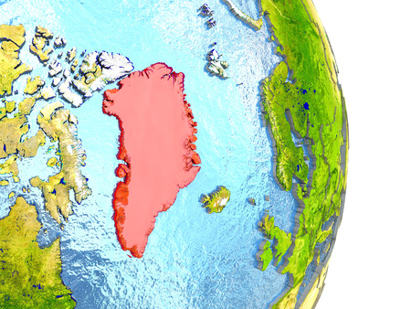 greenlandic: Greenland in red with surrounding region. 3D illustration with highly detailed realistic planet surface.