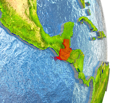 guatemalan: Guatemala in red with surrounding region. 3D illustration with highly detailed realistic planet surface.