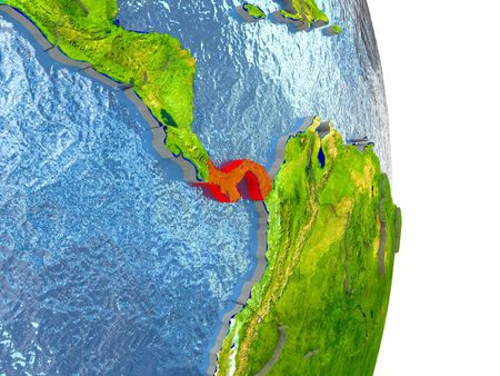 panamanian: Panama in red with surrounding region. 3D illustration with highly detailed realistic planet surface.