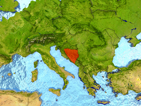 Top-down view of Bosnia highlighted in red with surrounding region. 3D illustration with highly detailed realistic planet surface.