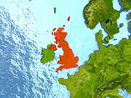 Top-down view of United Kingdom highlighted in red with surrounding region. 3D illustration with highly detailed realistic planet surface.