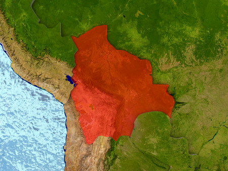 map bolivia: Top-down view of Bolivia highlighted in red with surrounding region. 3D illustration with highly detailed realistic planet surface.