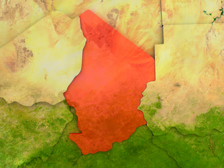 Top-down view of Chad highlighted in red with surrounding region. 3D illustration with highly detailed realistic planet surface.