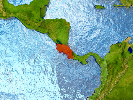 Top-down view of Costa Rica highlighted in red with surrounding region. 3D illustration with highly detailed realistic planet surface. Stock Photo