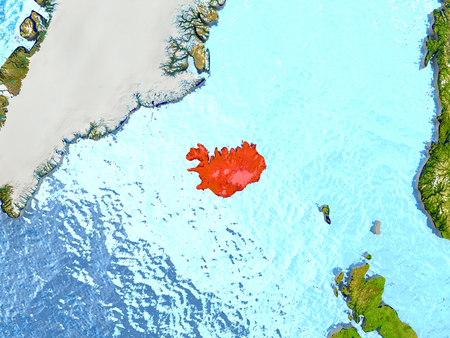 Top-down view of Iceland highlighted in red with surrounding region. 3D illustration with highly detailed realistic planet surface.