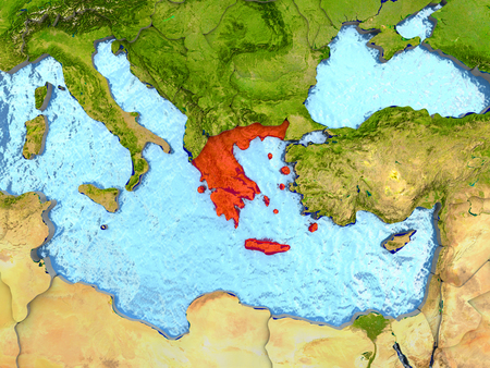 Top-down view of Greece highlighted in red with surrounding region. 3D illustration with highly detailed realistic planet surface.