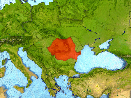 Top-down view of Romania highlighted in red with surrounding region. 3D illustration with highly detailed realistic planet surface.