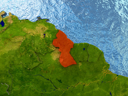 guyana: Top-down view of Guyana highlighted in red with surrounding region. 3D illustration with highly detailed realistic planet surface.