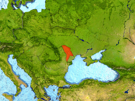 Top-down view of Moldova highlighted in red with surrounding region. 3D illustration with highly detailed realistic planet surface. Stock Photo