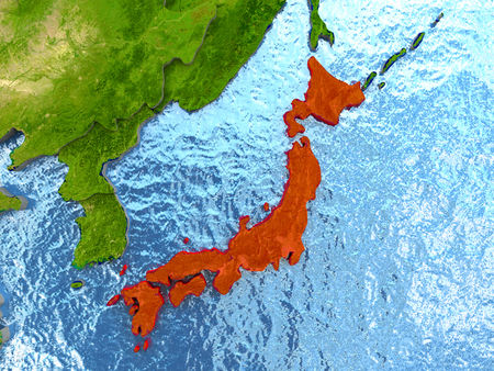 Top-down view of Japan highlighted in red with surrounding region. 3D illustration with highly detailed realistic planet surface.