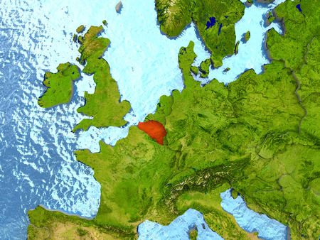 physical geography: Top-down view of Belgium highlighted in red with surrounding region. 3D illustration with highly detailed realistic planet surface.