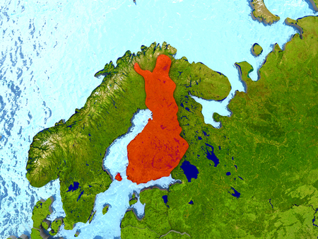 Top-down view of Finland highlighted in red with surrounding region. 3D illustration with highly detailed realistic planet surface.