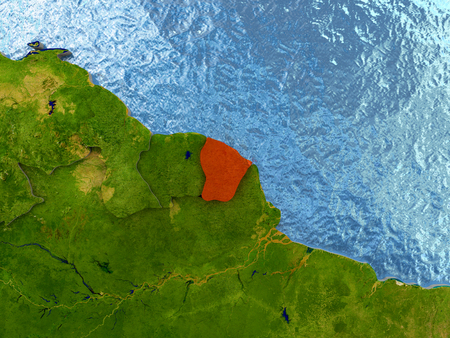 Top-down view of French Guiana highlighted in red with surrounding region. 3D illustration with highly detailed realistic planet surface. Stock Photo