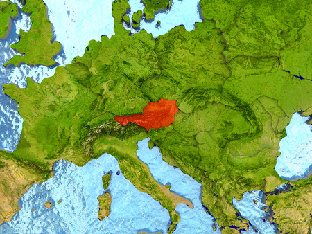 Top-down view of Austria highlighted in red with surrounding region. 3D illustration with highly detailed realistic planet surface. Stock Photo