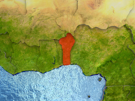 Top-down view of Benin highlighted in red with surrounding region. 3D illustration with highly detailed realistic planet surface.
