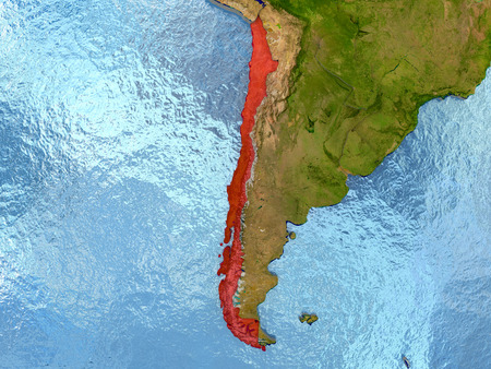 chilean: Top-down view of Chile highlighted in red with surrounding region. 3D illustration with highly detailed realistic planet surface. Stock Photo
