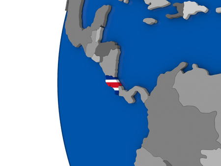 Map of Costa Rica with its flag on globe. 3D illustration Banco de Imagens