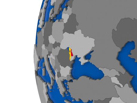 moldova: Map of Moldova with its flag on globe. 3D illustration