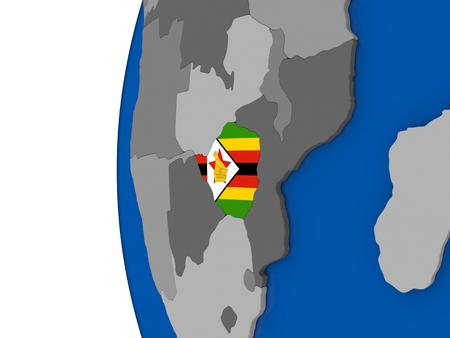 zimbabwe: Map of Zimbabwe with its flag on globe. 3D illustration Stock Photo