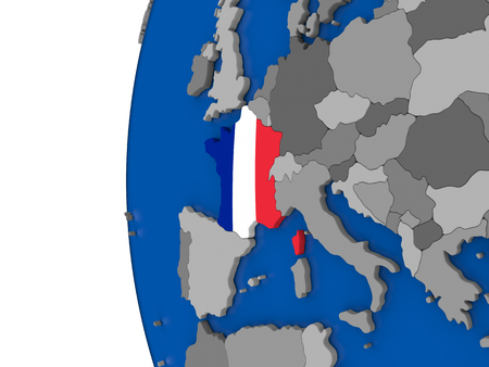 francaise: Map of France with its flag on globe. 3D illustration