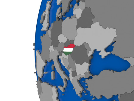 magyar: Map of Hungary with its flag on globe. 3D illustration
