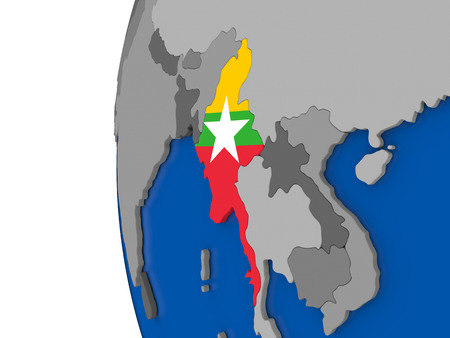 burmese: Map of Myanmar with its flag on globe. 3D illustration