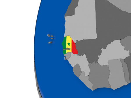 senegalese: Map of Senegal with its flag on globe. 3D illustration Stock Photo