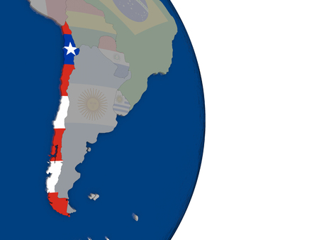 bandera chilena: Map of Chile with its flag on globe. 3D illustration Foto de archivo