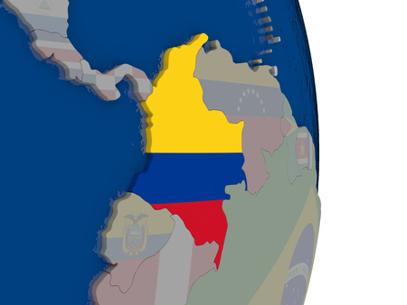 Map of Colombia with its flag on globe. 3D illustration