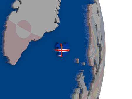Map of iceland with its flag on globe 3d illustration stock photo map of iceland with its flag on globe 3d illustration illustration gumiabroncs Choice Image