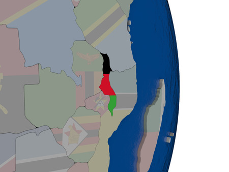 malawian flag: Map of Malawi with its flag on globe. 3D illustration Stock Photo