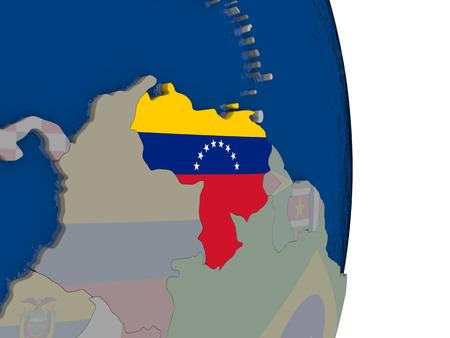 Map of Venezuela with its flag on globe. 3D illustration