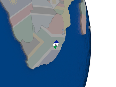lesotho: Map of Lesotho with its flag on globe. 3D illustration