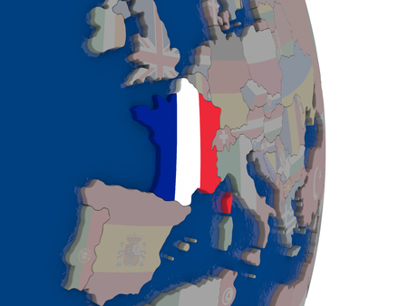 republique: Map of France with its flag on globe. 3D illustration