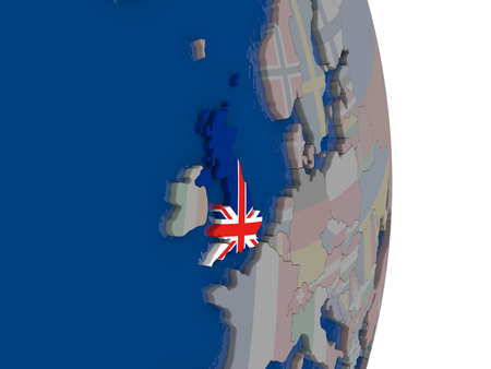 Map of United Kingdom with its flag on globe. 3D illustration