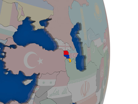 armenian: Map of Armenia with its flag on globe. 3D illustration Stock Photo