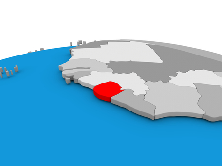 Map of Sierra Leone highlighted in red on simple globe. 3D illustration