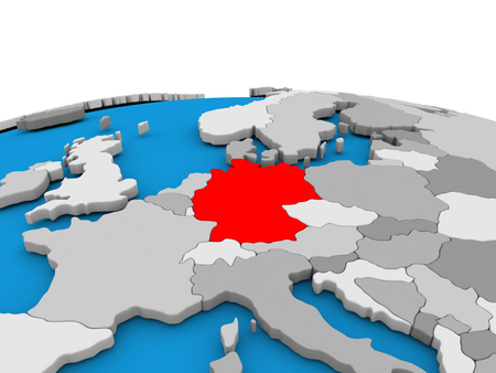 Map of Germany highlighted in red on simple globe. 3D illustration Stock Photo