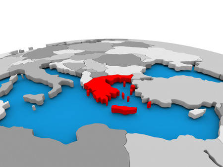 Map of Greece highlighted in red on simple globe. 3D illustration