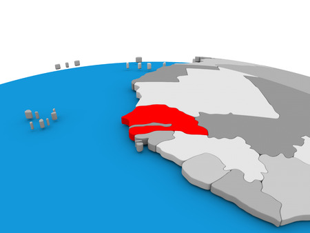 senegal: Map of Senegal highlighted in red on simple globe. 3D illustration