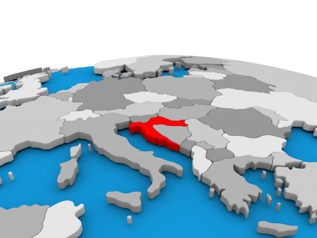 republika: Map of Croatia highlighted in red on simple globe. 3D illustration