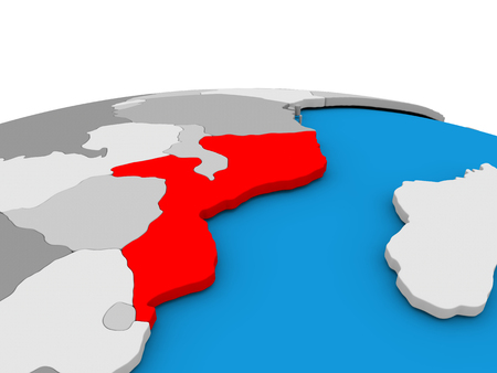 Map of Mozambique highlighted in red on simple globe. 3D illustration Stock Photo
