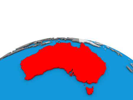 Map of Australia highlighted in red on simple globe. 3D illustration Stock Photo