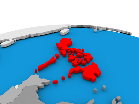 Map of Philippines highlighted in red on simple globe. 3D illustration
