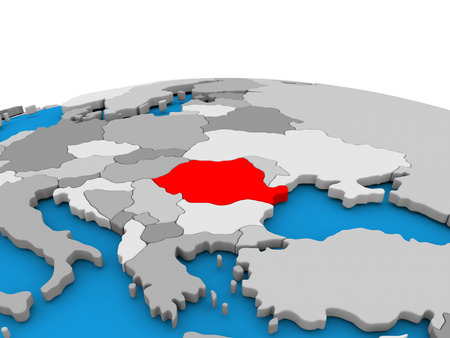 Map of Romania highlighted in red on simple globe. 3D illustration